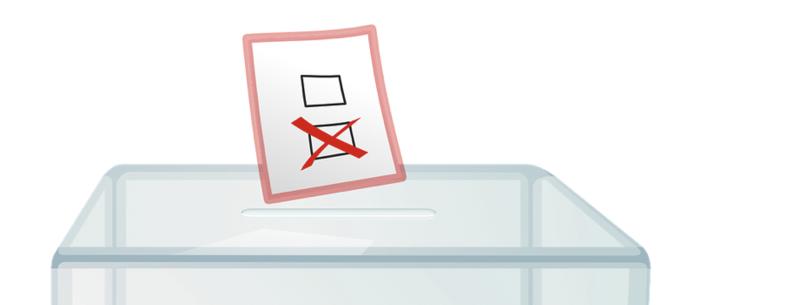Bild einer Wahlurne mit Stimmzettel, dargestellt als Illustration vor weißem Hintergrund