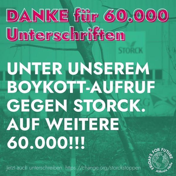 Text in Pink auf türkisgrünem Hintergrund: Danke für die ersten 60.000 Unterschriften bei unserem Boykott-Aufruf gegen Storck. Auf weitere 60.000