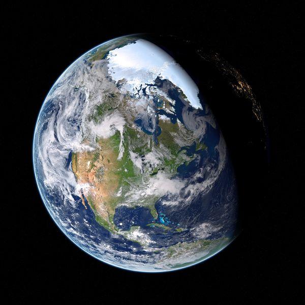 Die Erde im Universum vor einem schwarzen Hintergrund